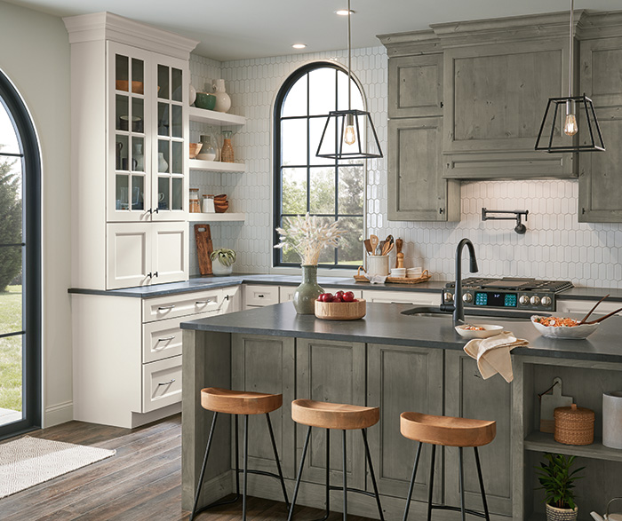 Diamond At Lowes Culver Painted Agreeable Gray And Foxhall Green With Rustic Alder Thicket Kitchen Cabinets