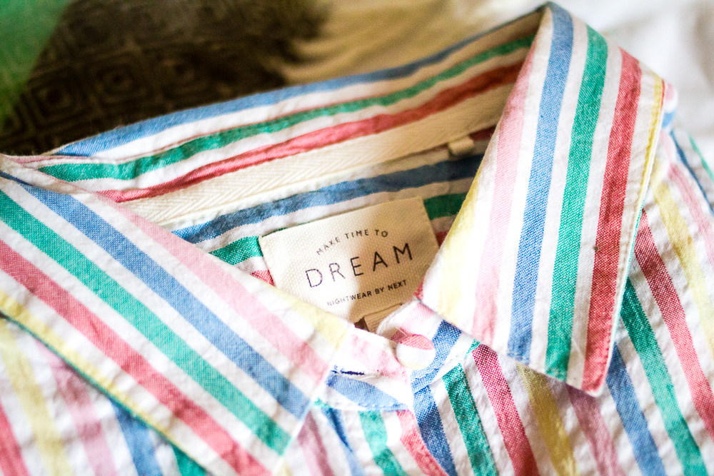 multi stripe button through pyjamas label