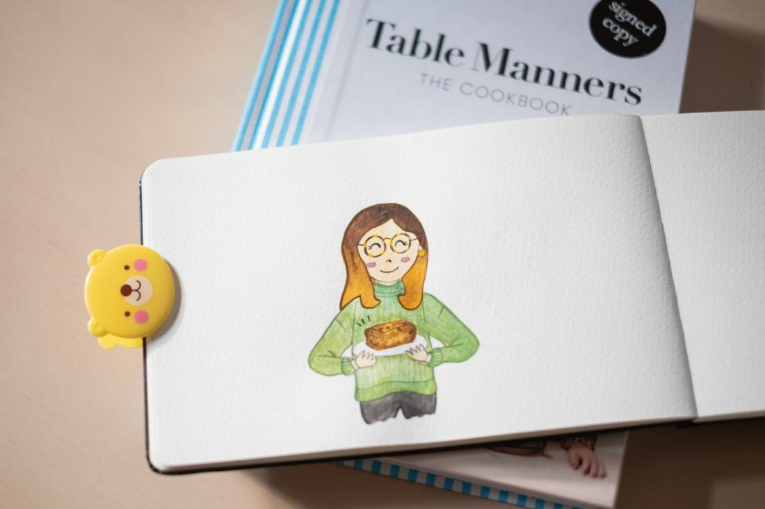 Keeping busy, baking and the daily doodle. Table manners and illustration.