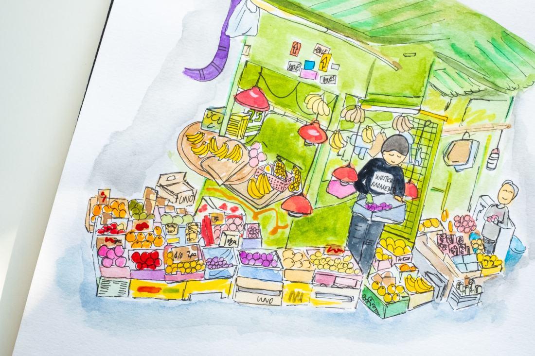 Hong Kong fruit stall doodles detail