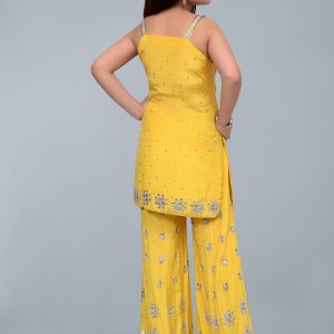 Yellow Shalwar Kameez with  Jamawar Trousers