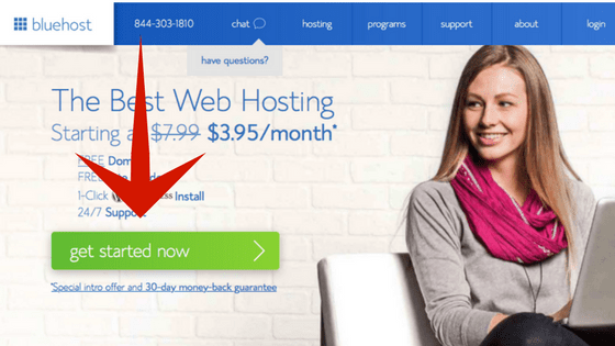 How to Start a Blog, Beginner's Guide With Bluehost landing page