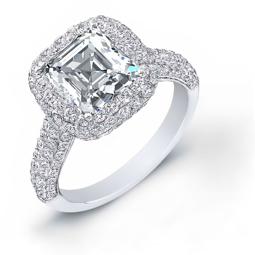 Micro Pave Halo Natural Diamonds Engagement Ring Mounting