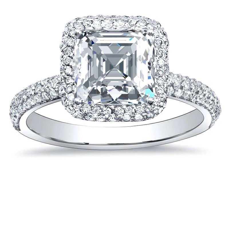 Halo Micro Pave Natural Diamonds Engagement Ring Setting