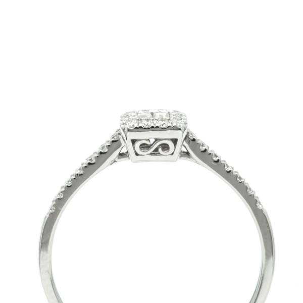 Bague Baguette Halo Diamond B19605 engagement ring