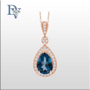 Costar-14 kt. Rose Gold Diamond & Blue Topaz Pendant