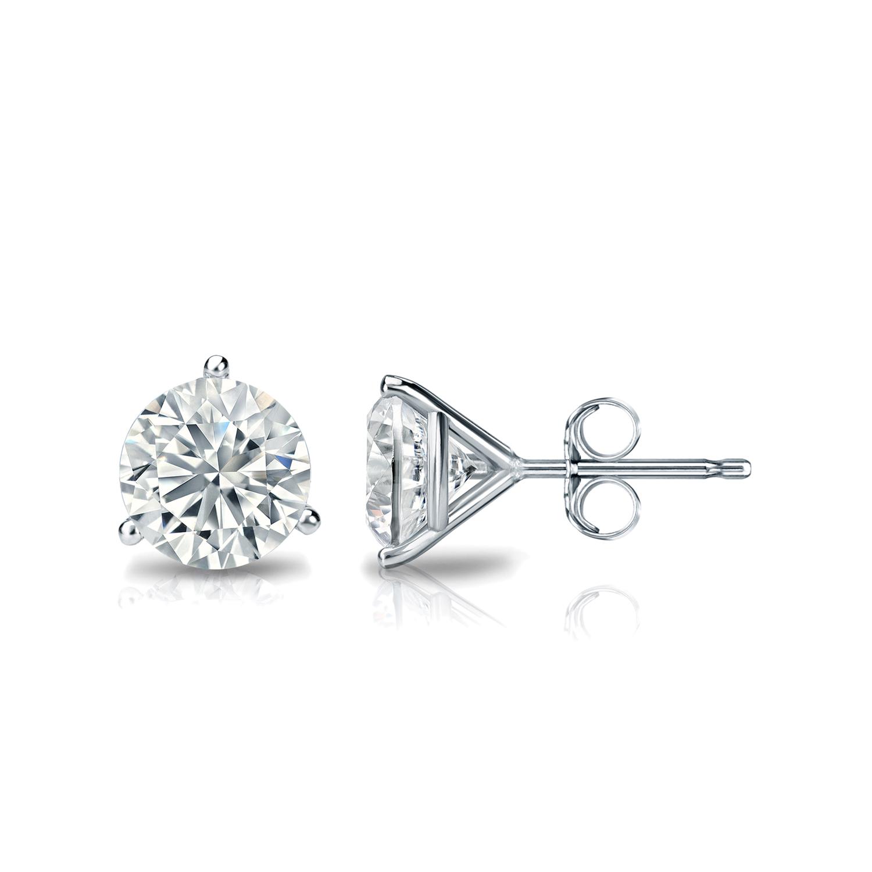 Certified 0 50 Cttw Round Diamond Stud Earrings In 14k
