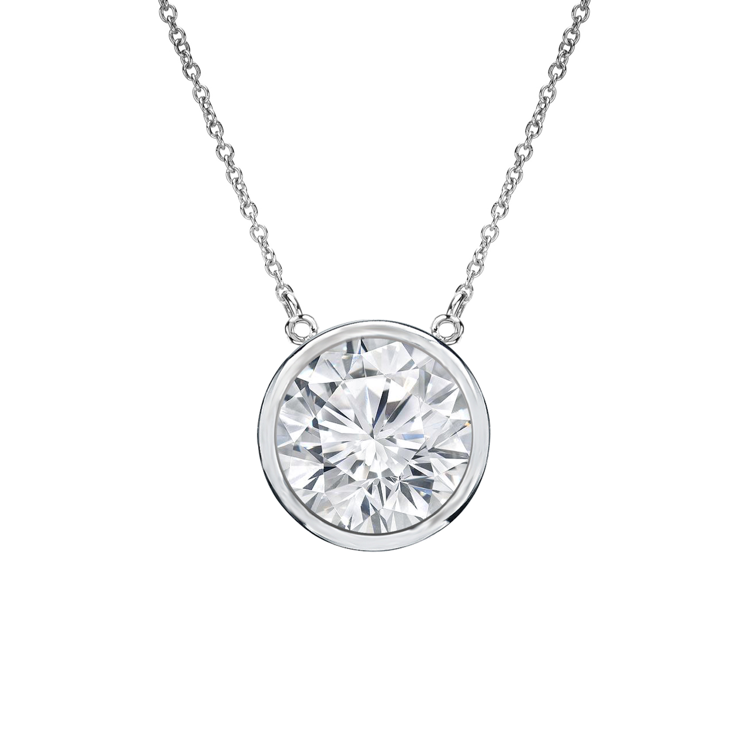 Bezel Diamond Solitaire Pendant In 14k White Gold