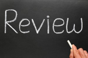 chalkboard with word review
