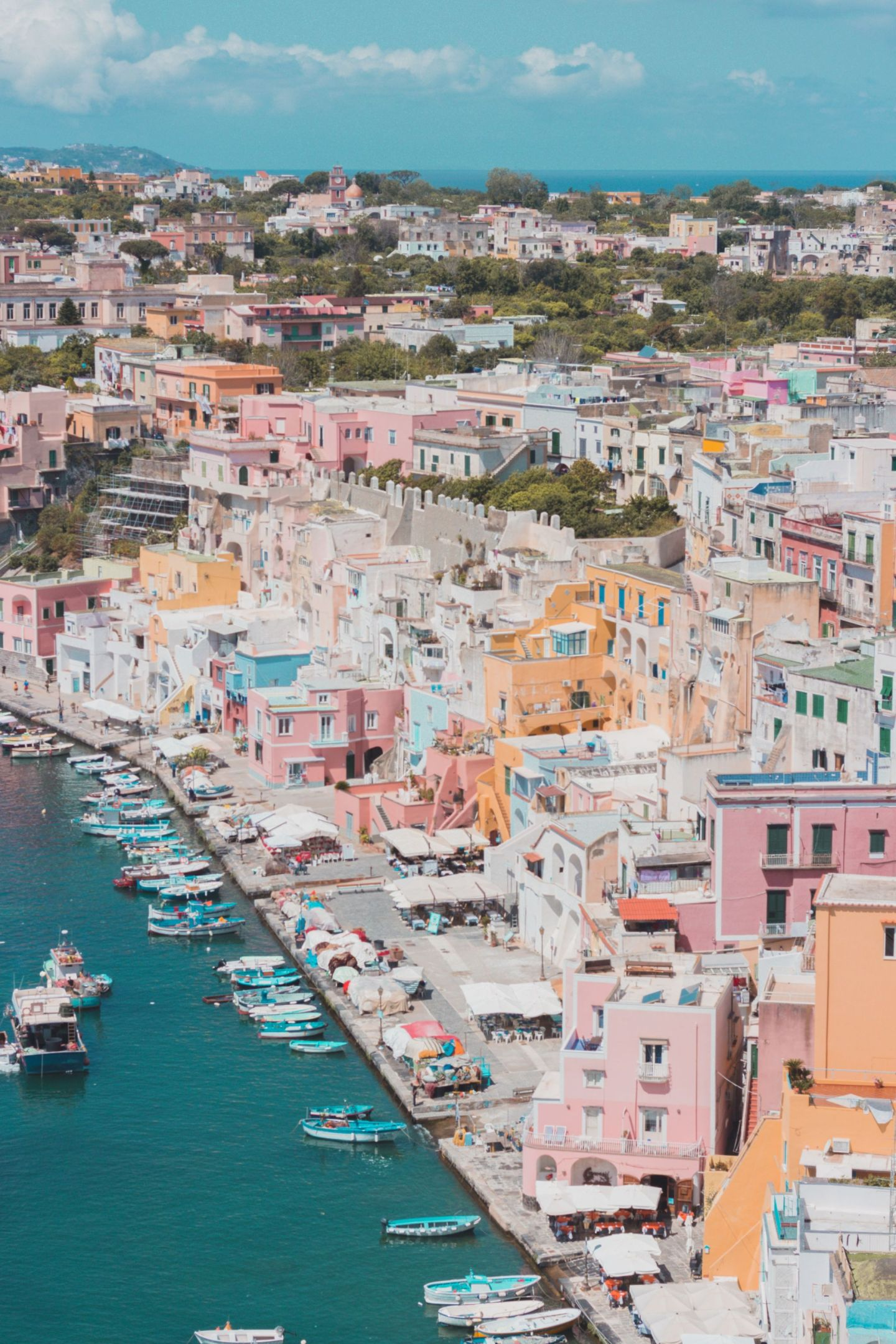A stunning view to Marina Corricella in Procida