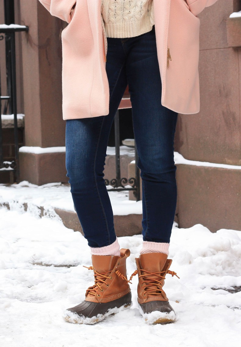 Fashion blogger Diana Pearl of Pearl Girl styles a J.Crew Cocoon Coat and L.L. Bean Boots for Winter