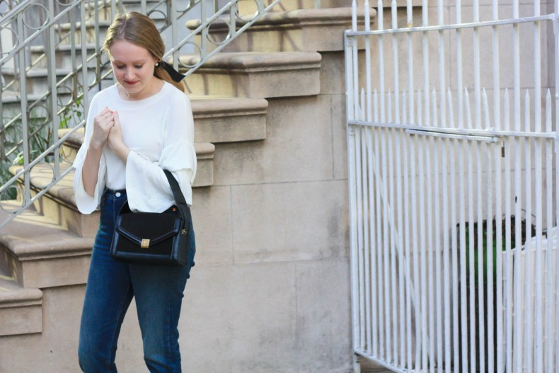 Fashion blogger Diana Pearl of Pearl Girl styles Mango Ruffle Top and Levi's Wedgie Icon Jeans