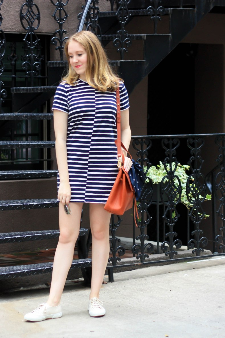 Everlane Beach Tee Dress, Mansur Gavriel Lady Bag, Superga Cotu Sneakers // Pearl Girl