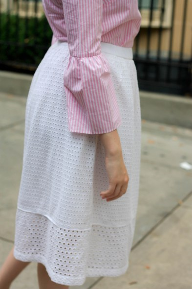 Everlane Bridge Sandals, Eyelet Midi Skirt, J.Crew Striped Bell Sleeve Top - Pearl Girl