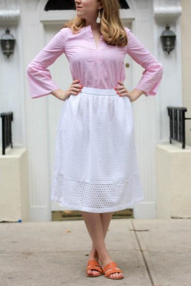 Everlane Bridge Sandals, Eyelet Midi Skirt, J.Crew Striped Bell Sleeve Top - Pearl Girl