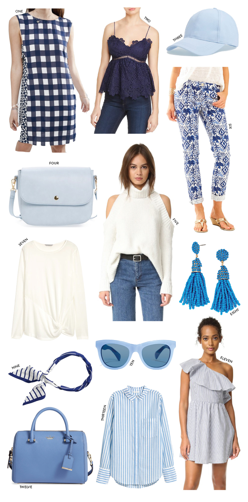 Blue and white shopping ideas and outfit recommendations from Nordstrom, Bloomingdale's and more // Pearl Girl