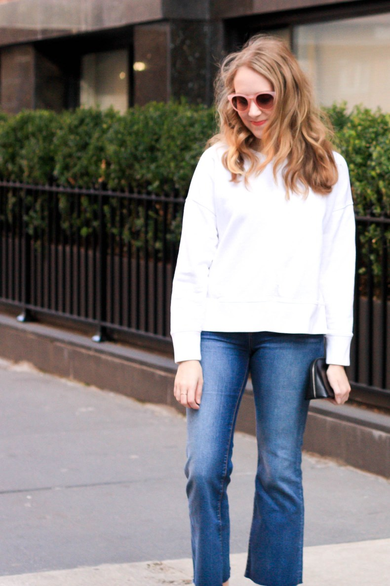 size 40 30e07 bf967 Fashion blogger Diana Pearl of Pearl Girl wears Nike Classic Cortez  Sneakers, Crop Flare Jeans
