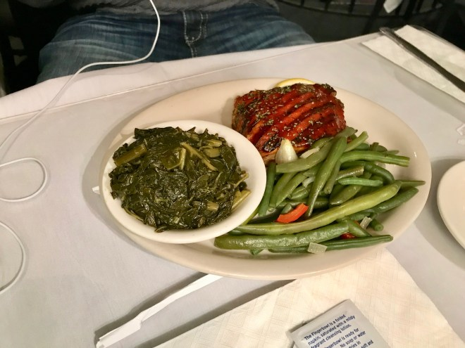 Husband's greens, salmon, and green beans from Sylvia's