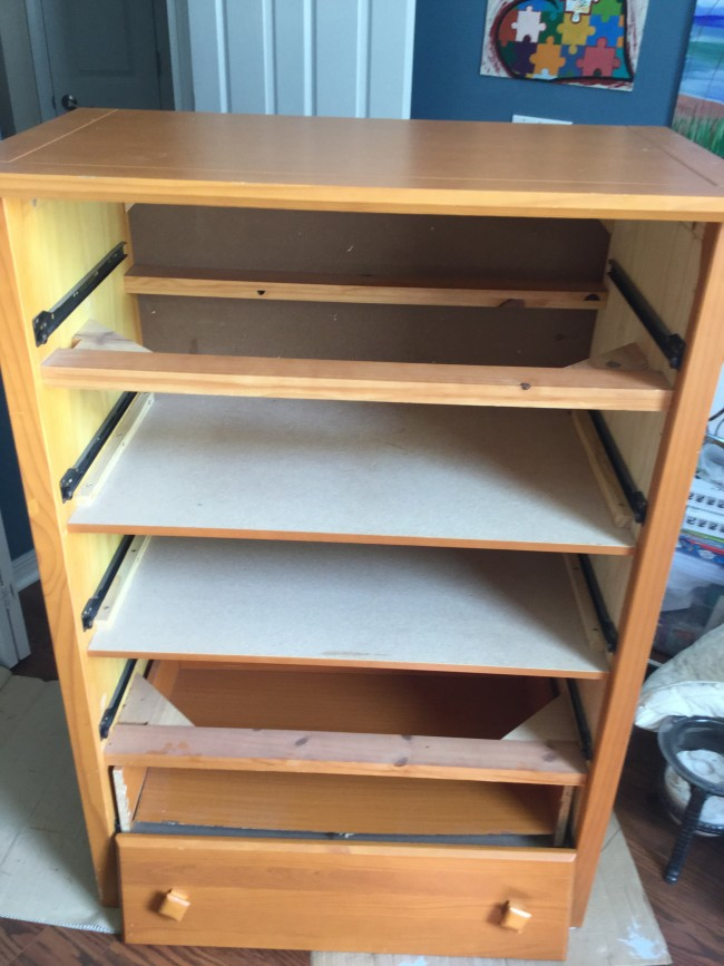 removing drawers before painting furniture