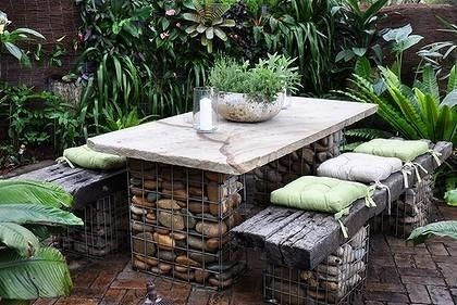 gabion table and bench