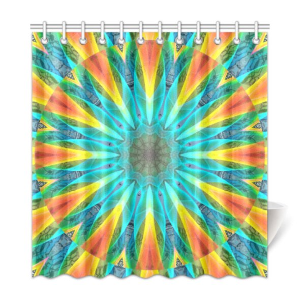 Aqua Gold Joy to the World Flowers, Zen Rainbow Shower Curtain