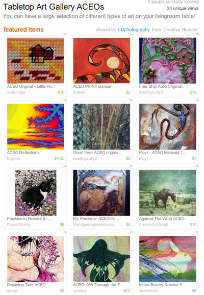 Tabletop Art Gallery ACEOs Treasury