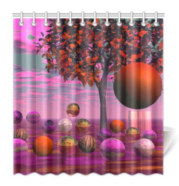 Bittersweet Opinion, Bronze Raspberry Maple Tree Shower Curtain