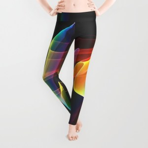 Northern Lights, Abstract Fractal Rainbow Aurora Leggings