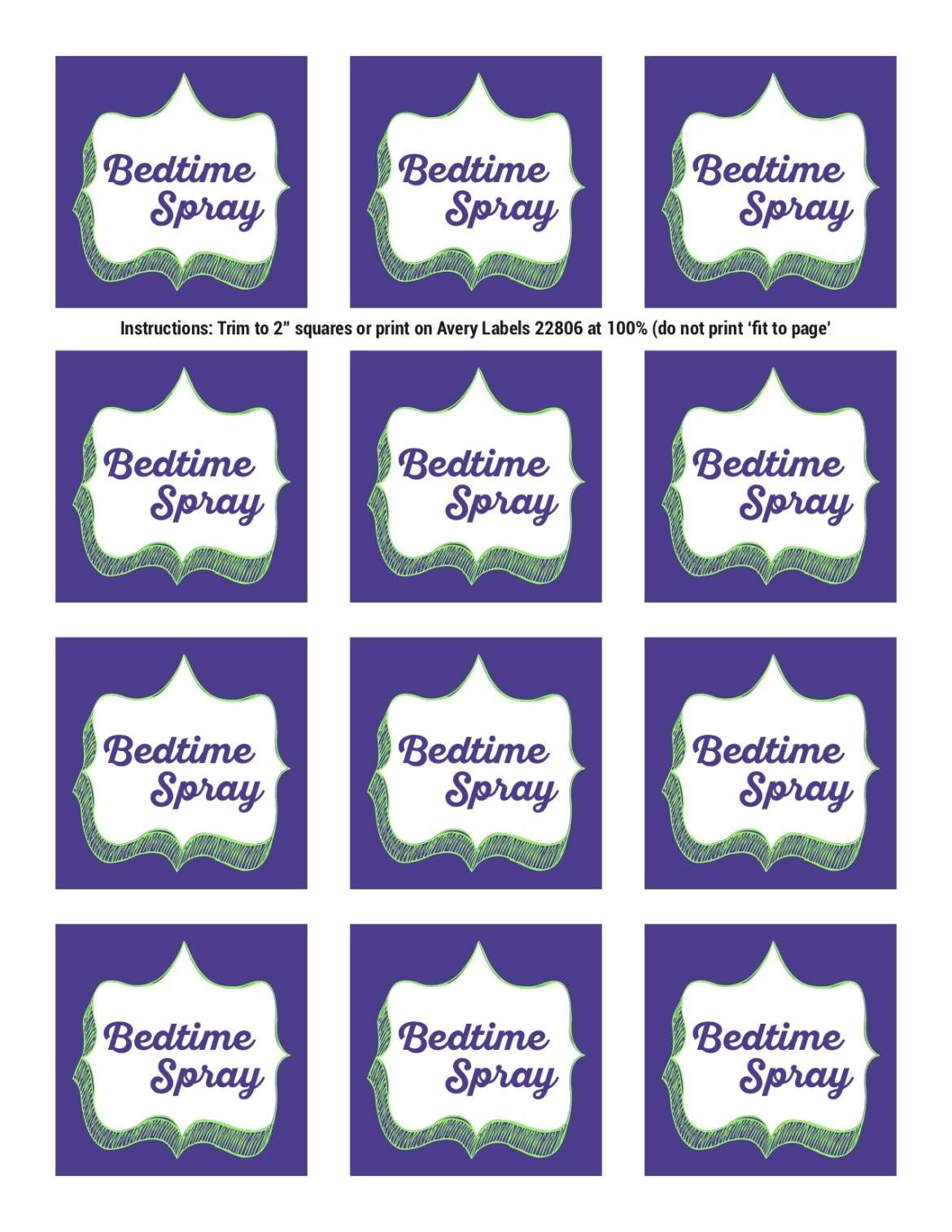 Bedtime Spray Labels