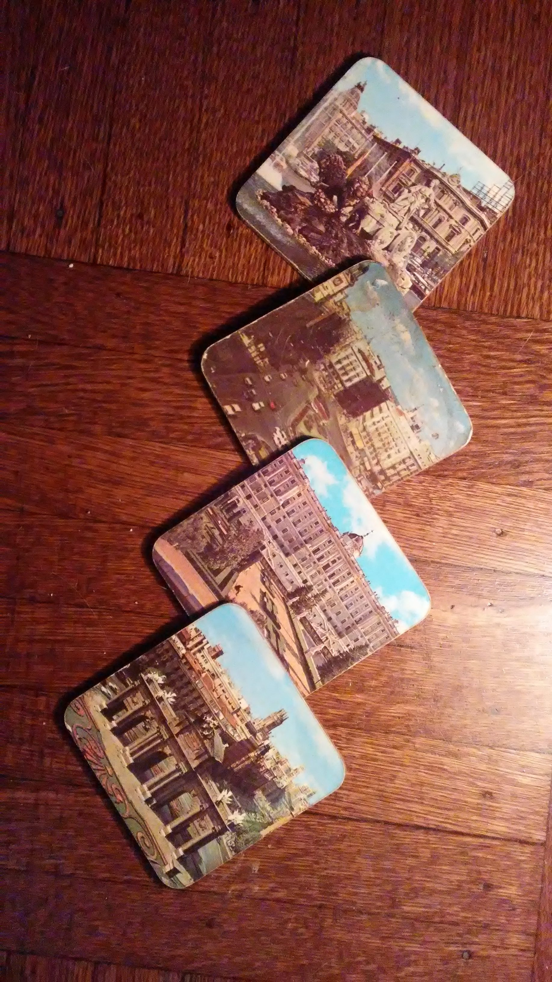 Set of old coasters