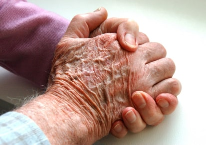 clasped old hands