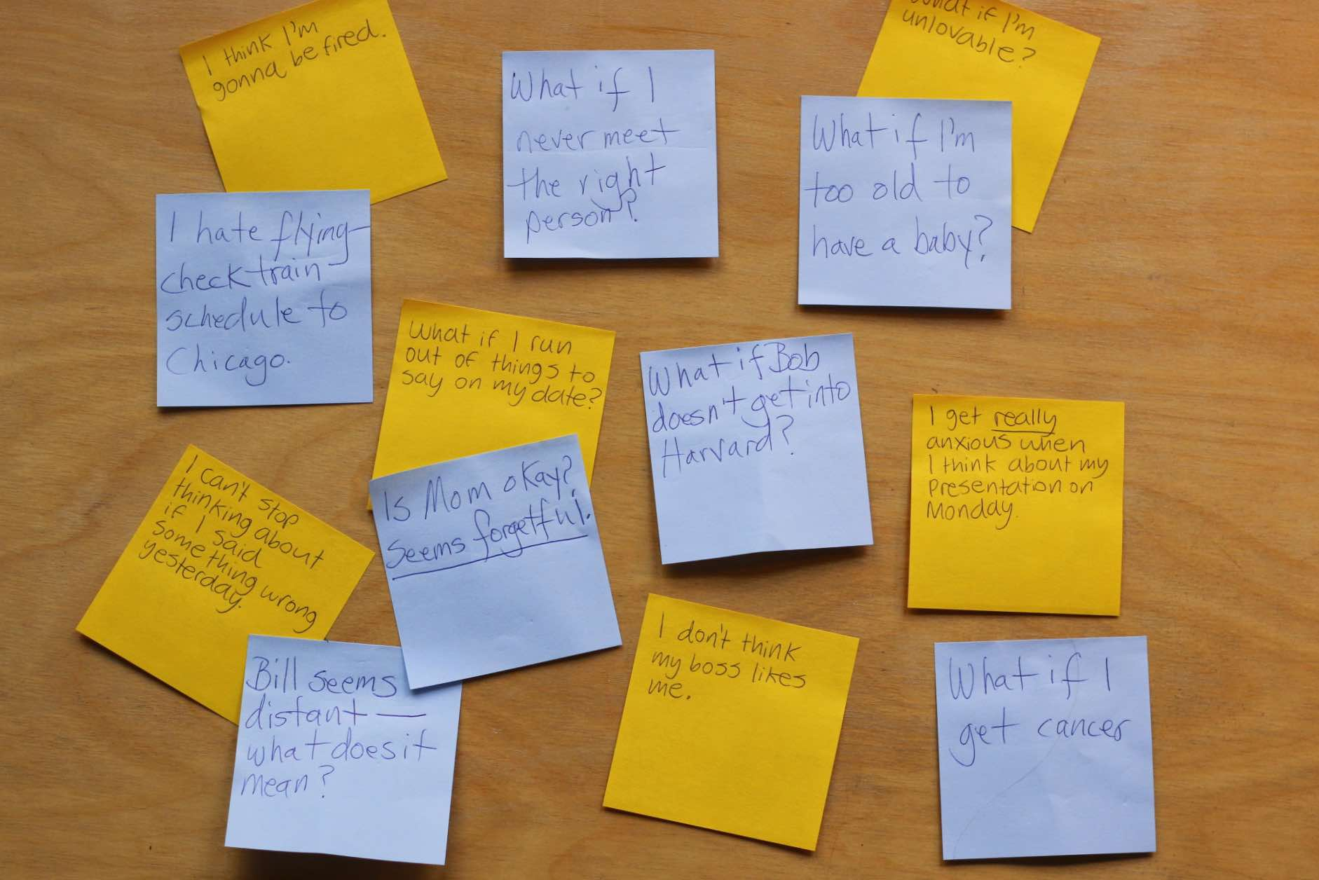 Post-it notes with worries