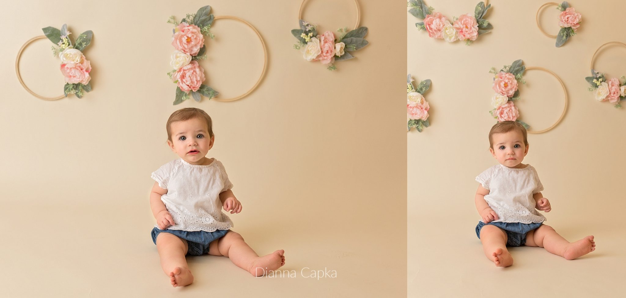 bohemian style milestone session floral hoops 9 month old Lucy Lancaster baby photographer