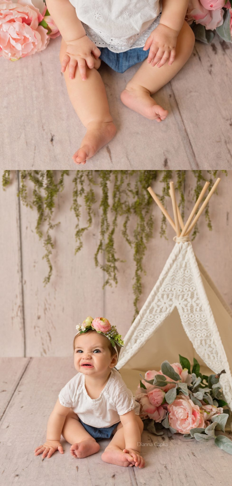 boho styled session with lace tent 9 month old Lucy Lancaster baby photographer