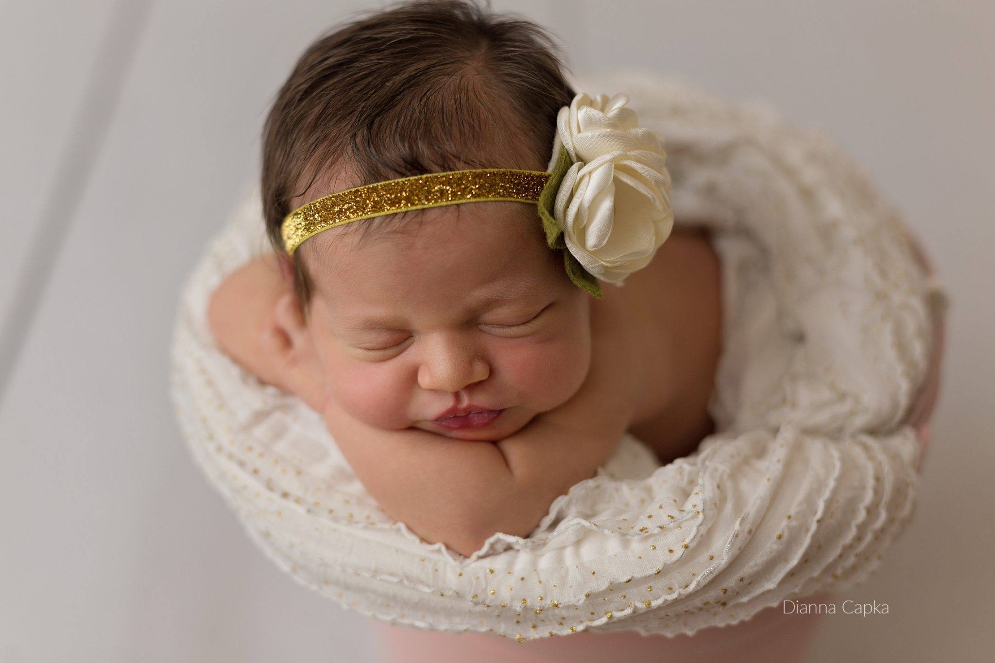 lancaster baby photographer newborn girl gold and pink