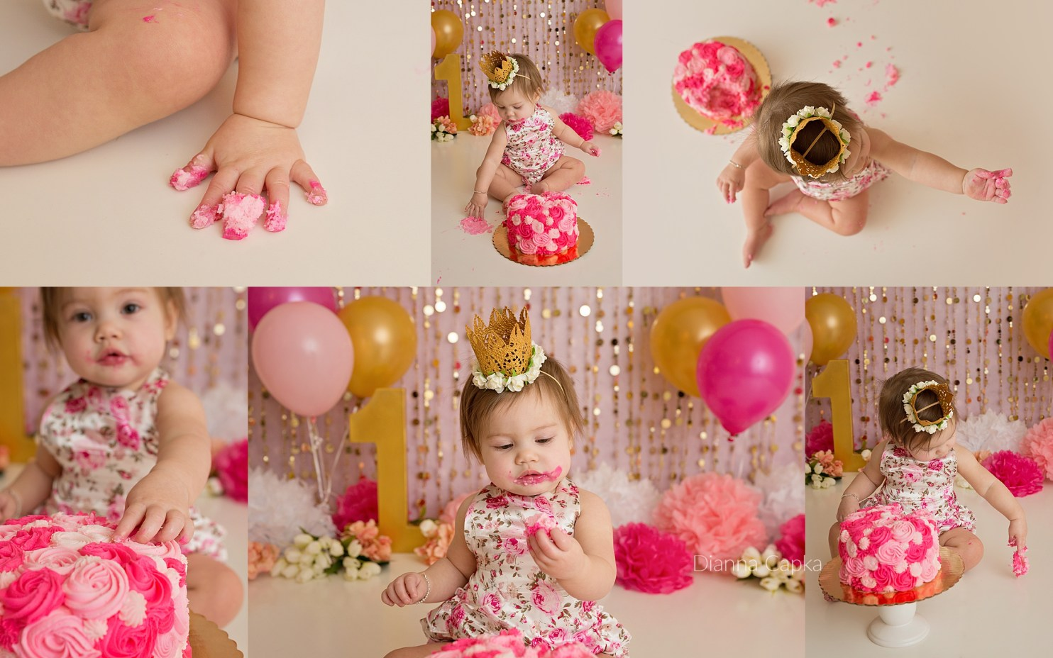 Henley is One Lancaster one year portrait photographer pinks and gold
