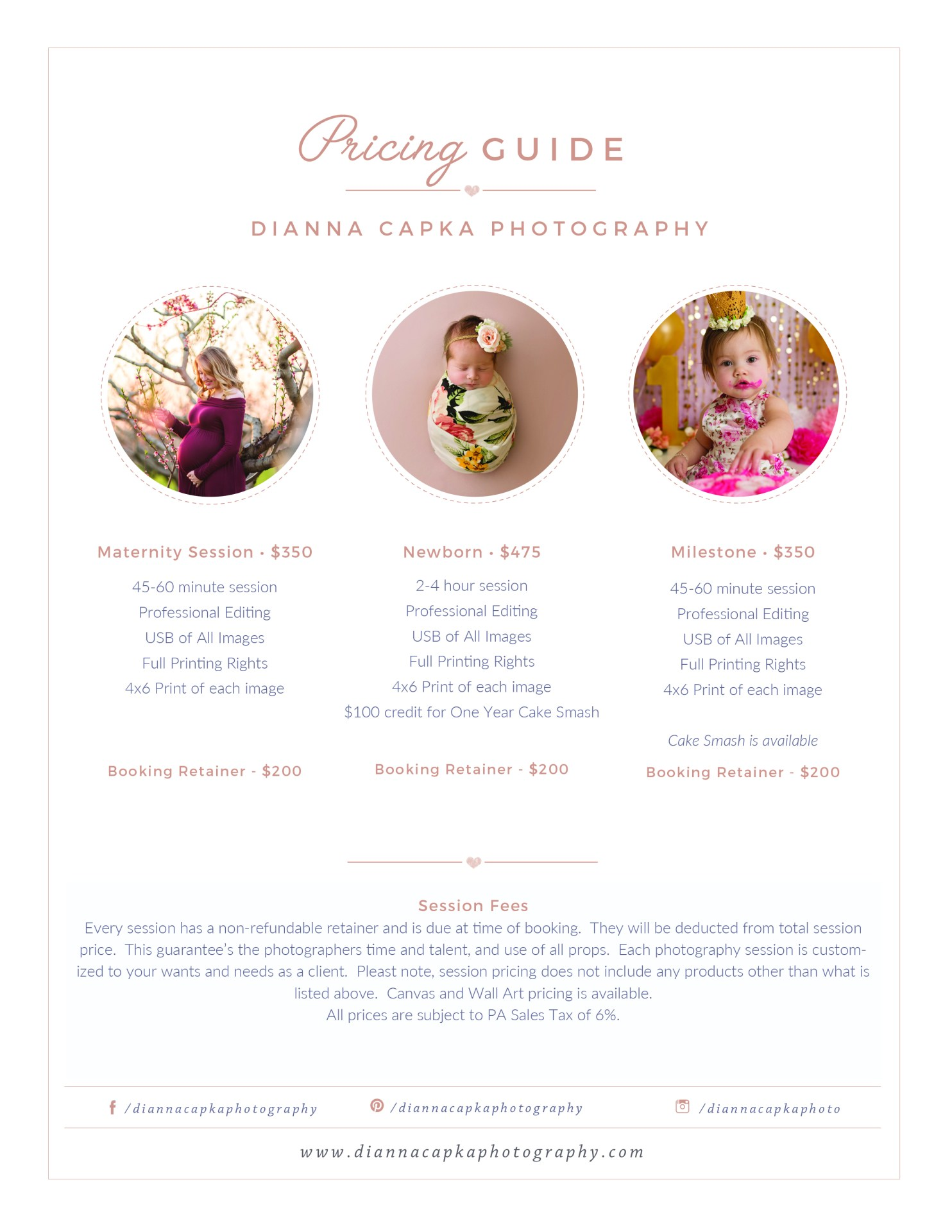 Lancaster photographer pricing list