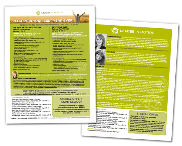 1 page flyers for Leader in Motion