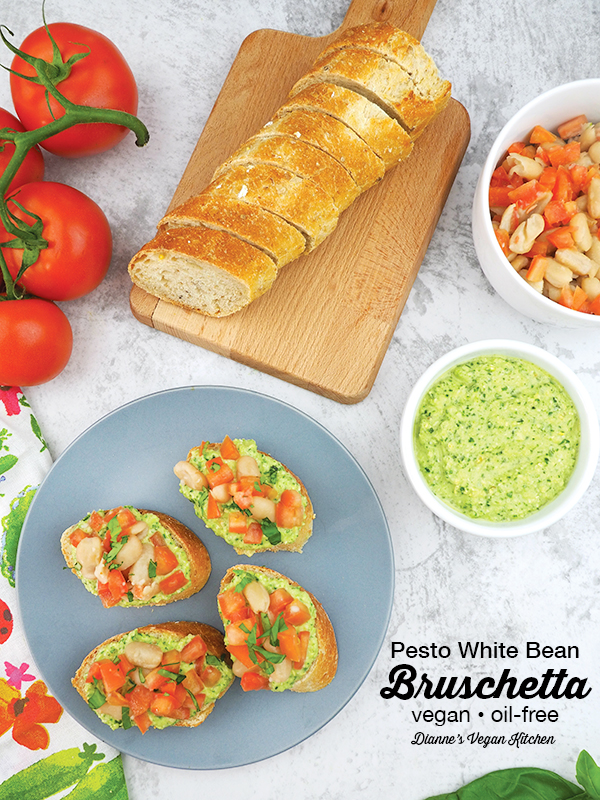 Pesto White Bean Bruschetta from What the Health by Kip Andersen and Keegan Kuhn with Eunice Wong is a terrific appetizer or side dish. It's perfect for parties! It's vegan and oil-free.