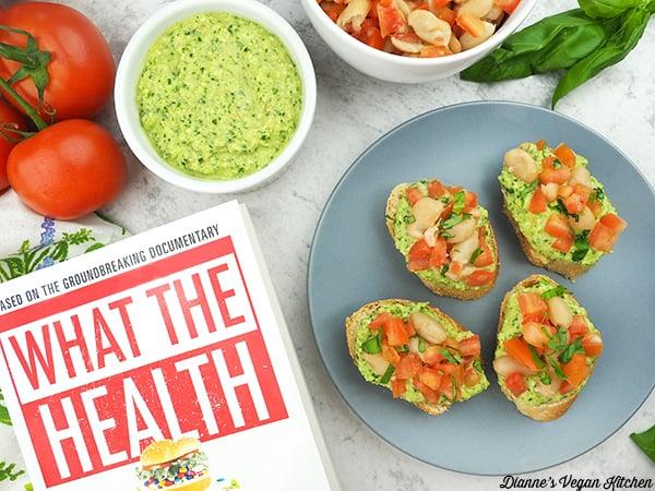 Pesto White Bean Bruschetta with What the Health