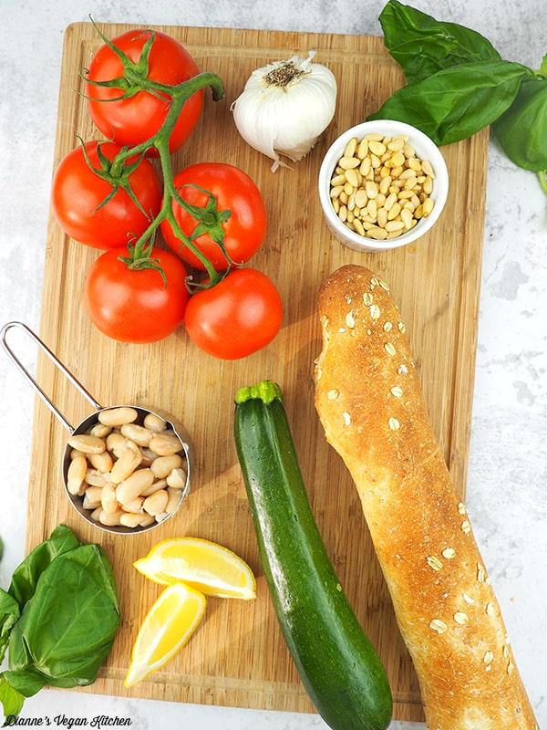 Pesto White Bean Bruschetta ingredients