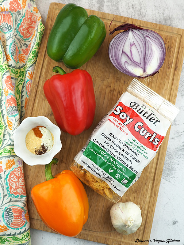 Vegan Soy Curl Fajitas ingredients