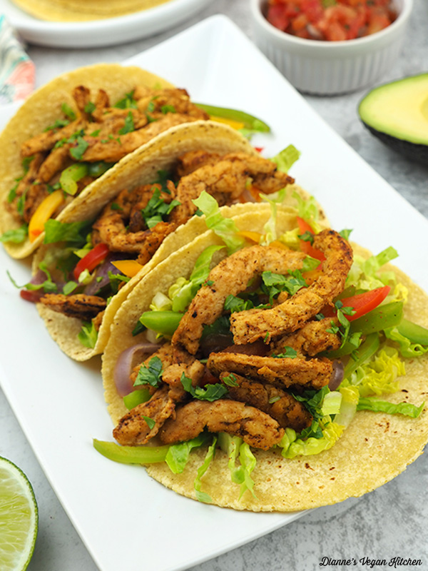 Vegan Soy Curl Fajitas from the front