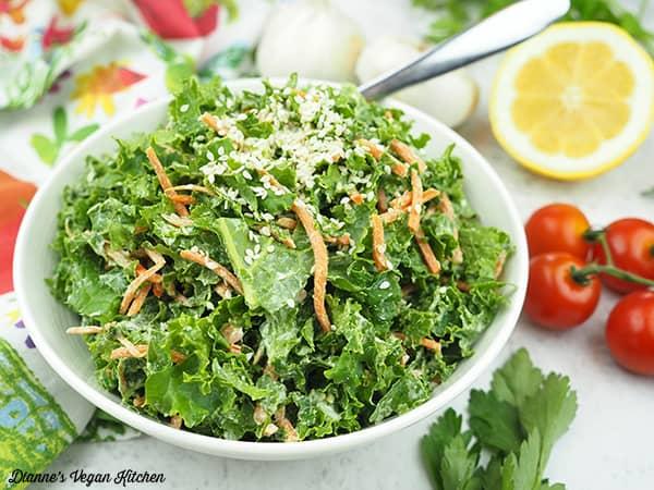 raw kale slaw in bowl horizontal