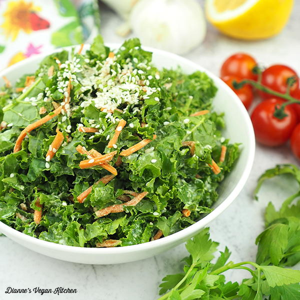 raw kale slaw in bowl square