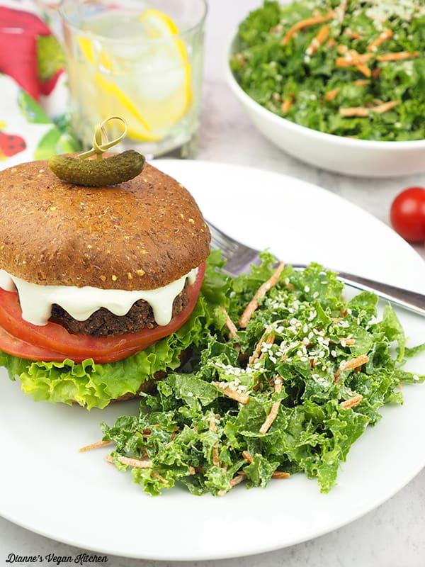 Kale slaw with black bean burger