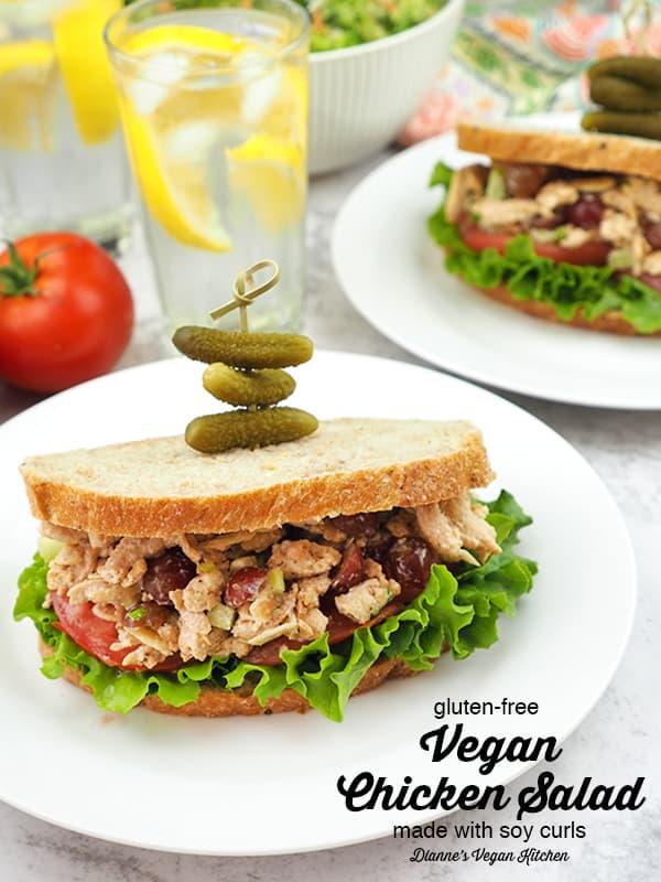 Vegan chicken salad sandwiches with text overlay