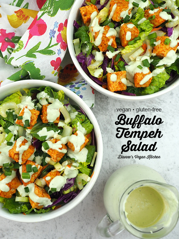 buffalo tempeh salad with ranch dressing and text overlay