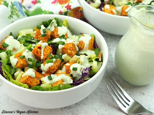 Buffalo Tempeh Salad with Cashew Ranch Dressing horizontal
