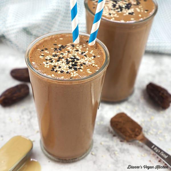 glasses of mocha tahini shakes, square